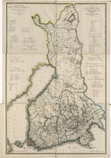 A map from 1825 illustrates the Grand Duchy of Finland, then part of the Russian Empire. The map has several creases from folding. Place names and legend are written in Russian Cyrillic script and Swedish.