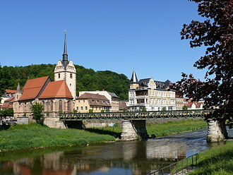Thuringia - Gera: Untermhaus district, St. Mary's Church and Weiße Elster river