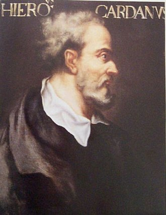Gerolamo Cardano - Portrait of Cardano on display at the School of Mathematics and Statistics, University of St Andrews.