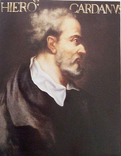 Portrait of Cardano on display at the School of Mathematics and Statistics, University of St Andrews. Gerolamo Cardano (colour).jpg