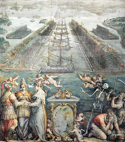 Order of battle of the two fleets, with an allegory of the three powers of the Holy League in the foreground, fresco by Giorgio Vasari (1572, Sala Regia). Giorgio-vasari-battle-of-lepanto.jpg