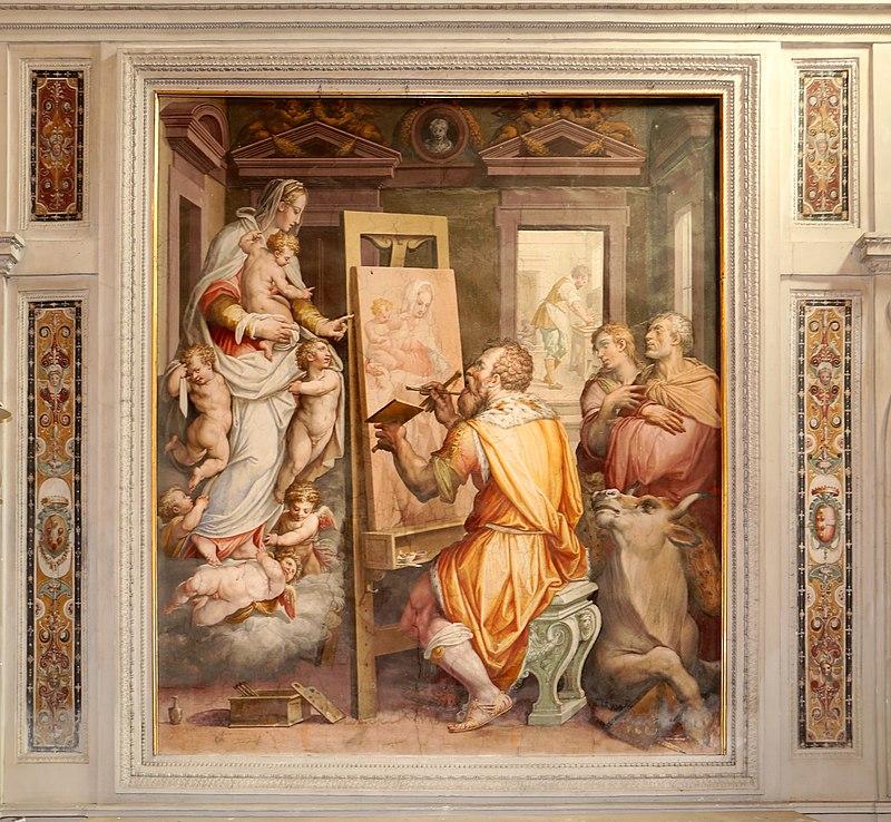 Giorgio Vasari, San Luca che dipinge la Vergine (allegoria della pittura), 1570, 01.jpg