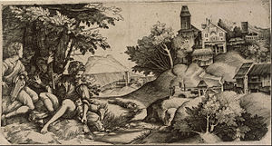 Domenico Campagnola - Concert by a brook, engraving with his father Giulio Campagnola
