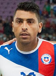 Gonzalo Jara Footballteam of Chile - Spain vs. Chile, 10th September 2013 (cropped).jpg