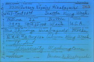 "Gordon Hirabayashi - Gordon Hirabayashi's draft registration card. Written in the left-hand margin: ""I am a conscientious objector."""
