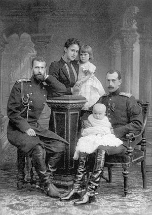 Grand Duke Paul Alexandrovich of Russia - Grand Duke Sergei Alexandrovich; Sergei's wife, Grand Duchess Elizaberth Feodorovna holding Grand Duchess Maria Pavlovna; Grand Duke Paul Alexandrovich with his son, Dmitri, on his lap
