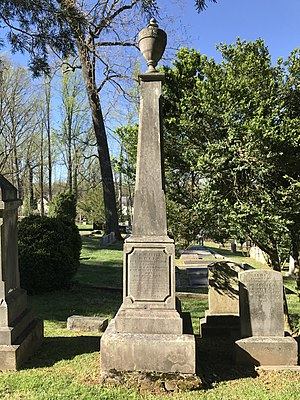 William Holmes McGuffey - McGuffey's grave obelisk at the University of Virginia Cemetery in Charlottesville, Virginia.