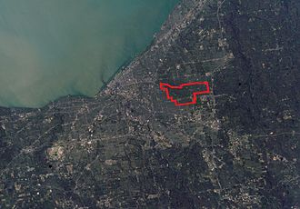 Shaker Heights, Ohio - A NASA photo of Greater Cleveland, showing the relative location of Shaker Heights.