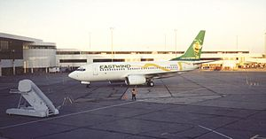 Eastwind Airlines - An Eastwind Airlines Boeing 737 at Greater Rochester, NY in 1998