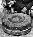 Grinding wheel detail, Bundesarchiv Bild 135-BB-152-11, Tibetexpedition, Tibeter mit Handmühle (cropped).jpg