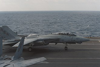 Action in the Gulf of Sidra (1986) - An F-14 from VF-74 lands on USS Saratoga