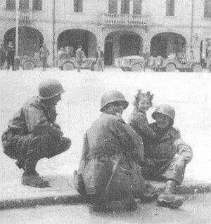 Sal Guarriello - Sal Guarriello (right), WWII, North of Florence, Italy
