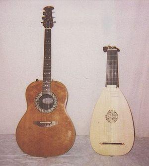 Ovation Guitar Company - A mid-1970s Kaman Ovation Custom Balladeer 1612-4 acoustic electric guitar, next to a lute.