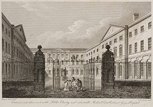 Guy's Hospital - 1820 Engraving of entrance by James Elmes and William Woolnoth