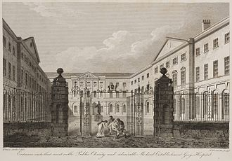 King's College London GKT School of Medical Education - 1820 engraving of Guy's campus entrance by James Elmes and William Woolnoth