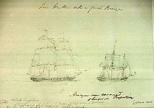 HMS Belle Poule (1806) - HMS ''Amazon'' pursuing unnamed French vessel, possibly the Belle Poule, by Nicholas Pocock