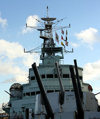 Recognition signal - HMS Belfast (C35) using International maritime signal flags as a recognition signal