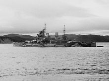 HMS Prince of Wales (53) in Placentia Bay, Newfoundland, in August 1941 (NH 67194-A).jpg