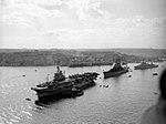 HMS Warrior (R31), USS Des Moines (CA-134) and HMS Gambia (48) at Malta, circa in 1951 (IWM A32043).jpg