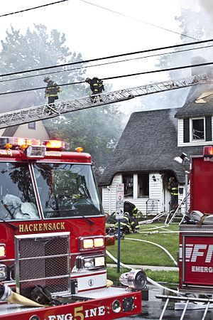 Hackensack, New Jersey - Hackensack Fire Department responding to a house fire.