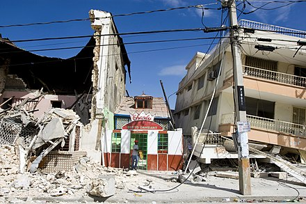 Damaged buildings in Port-au-Prince following the Haiti earthquake on January 12. Haiti Earthquake building damage.jpg