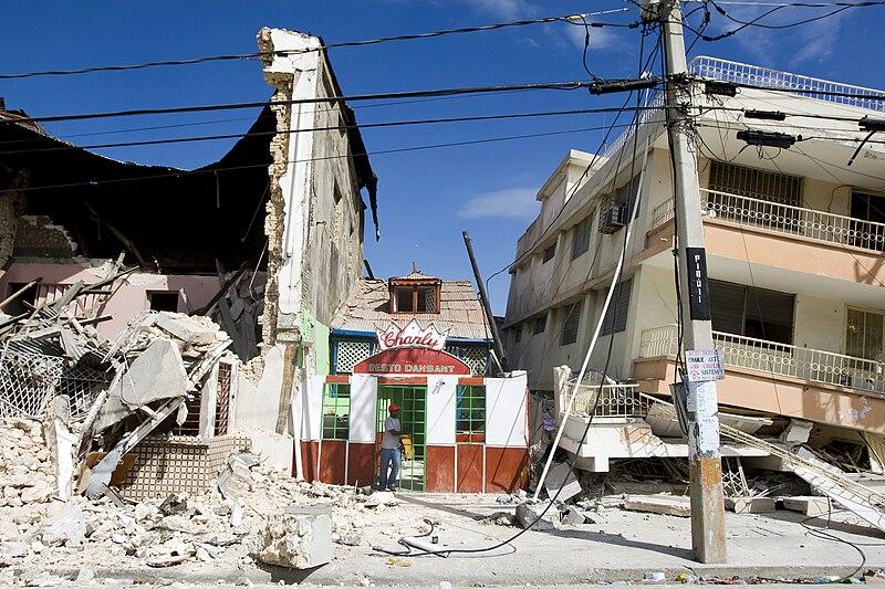 Kondisi bangunan yang rusak di Haiti