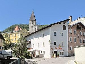 Hallein - Street and church tower