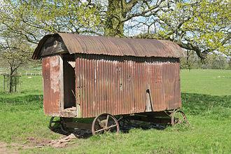 Shepherd's hut - Derelict hut in the parkland at Hanbury Hall
