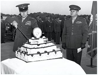 Franklin A. Hart - LtGen Franklin A. Hart cuts the first piece of cake at the 1951 Marine Corps Birthday Celebration, TBS, Quantico while Col David M. Shoup looks on.
