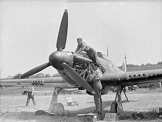 Frank Reginald Carey - Hurricane undergoing maintenance, France, 1940.