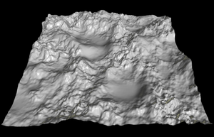 Heightmap - The same heightmap converted to a 3D mesh and rendered with Anim8or