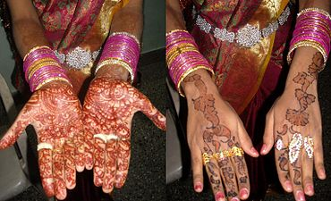 Henna on a Muslim bride's hands, Madurai, Tamil Nadu, India.jpg