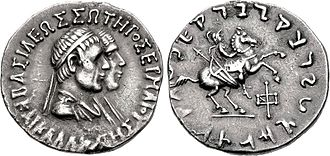 Hermaeus - Coin of Hermaios and Kalliope, with Hippostratos on horseback, 105 BCE.