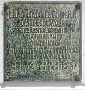 Point Hicks - The plaque on the landward side of the obelisk at Point Hicks, Victoria, Australia.