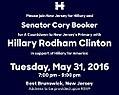 Hillary and Cory Booker nj-05-31-16.jpg
