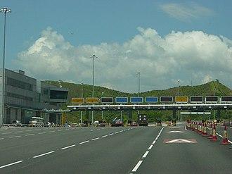 Lantau Link - Lantau Link toll plaza at Tsing Chau Tsai, on Lantau Island.