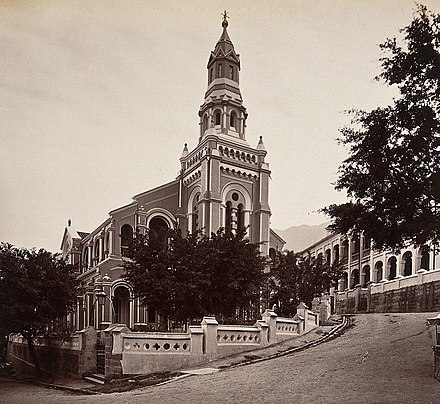 Union Church 2nd generation building at the corner of Staunton Street and Peel Street, photographed by William Pryor Floyd. Hong Kong; the Union Chapel. Photograph. Wellcome V0037365 (cropped).jpg