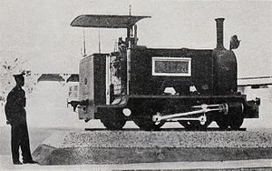 Walvis Bay 2-4-2T Hope - The engine Hope plinthed in Windhoek, c. 1950
