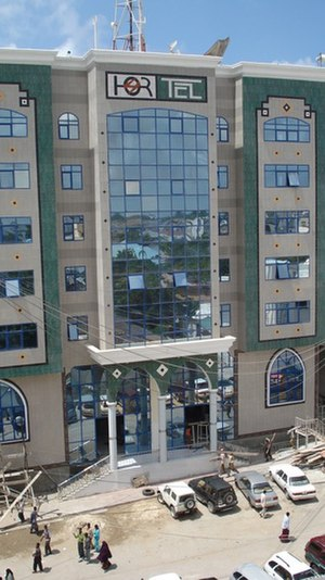 Communications in Somalia - The Hormuud Telecom building in Mogadishu.