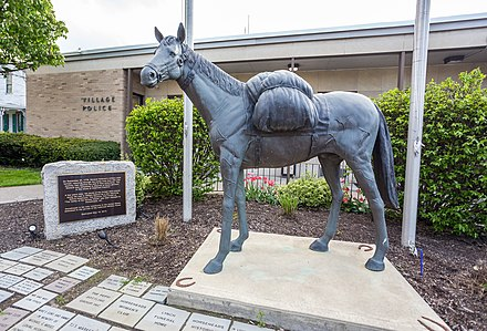 A memorial to Sullivan's pack horses stands in the Village of Horseheads, New York.