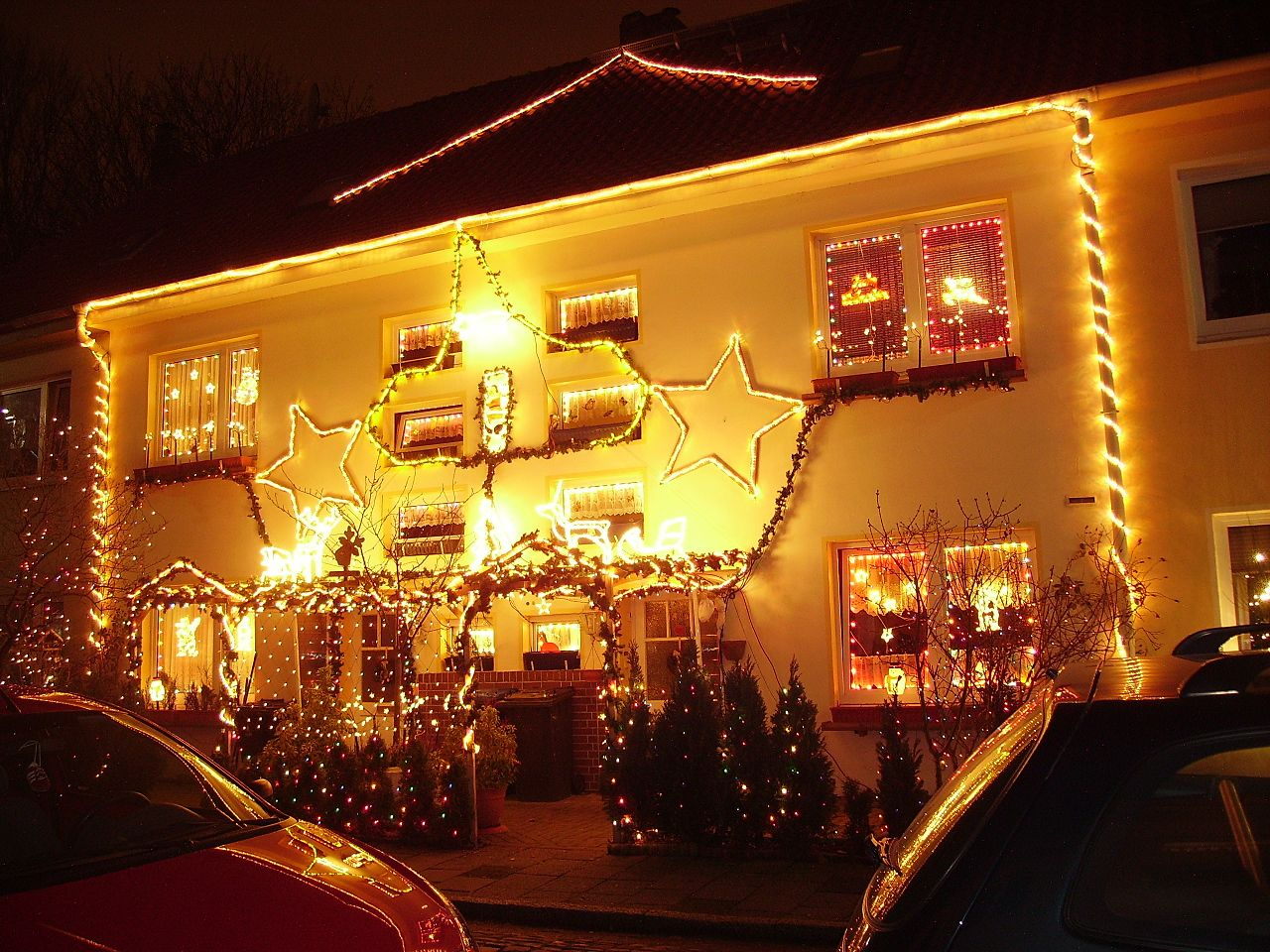 Christmas decorated houses - File House Decorated For Christmas Jpg