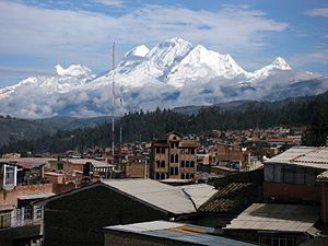 Huaraz Province - Looking north over Huaraz towards the Cordillera Blanca