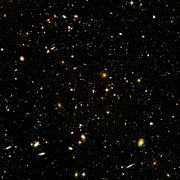 The Hubble Ultra Deep Field showcases galaxies from an ancient era when the universe was younger, denser, and warmer according to the Big Bang theory.