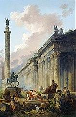 Vue imaginaire de Rome avec la statue équestre de Marc-Aurèle, la colonne de Trajan et un temple