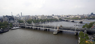 Hungerford Bridge and Golden Jubilee Bridges - The Hungerford and Golden Jubilee bridges as seen from the London Eye, with Waterloo Bridge in the background