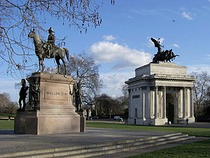 Hyde Park Corner -  Decimus Burton's Wellington Arch and Wellington Statue at Hyde Park Corner