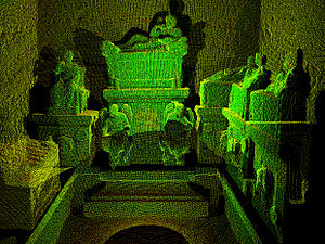 Hypogeum - 3D image of Tablinum inside Hypogeum of the Volumni, cut from a laser scan