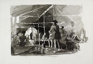 Jack Bridger Chalker - A Ward in the Chungkai Hospital  (Art.IWM ARTLD 6652)