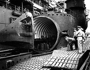 I-400-class submarine - Members of the US Navy inspecting the plane hangar of I 400.