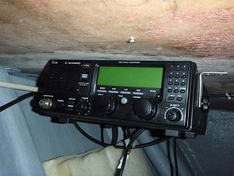 High frequency - A modern Icom M700Pro two-way radio for marine HF radio communications.